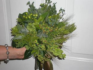 green hypericum berry, green bells of Ireland, green camellia leaves,green wheat, green dogs eye euphorbia, evergreen, silver green lambs ear, engaged magazine