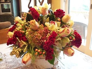 burgundy coxcomb, wheat, berry, antique hydrangea, On A Whim