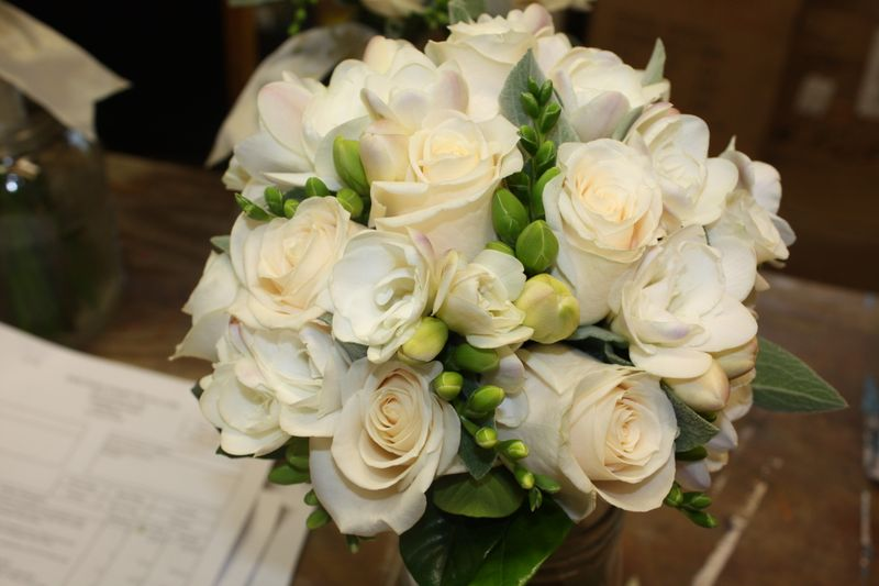 double white freesia, Vendella roses, lambs ear, Gardenia Foliages