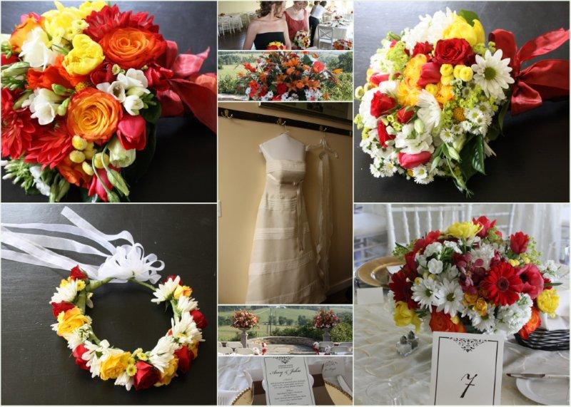 Hitched Bridal Salon, Daisies, Roses, Gerber Daisies, Freesia, Tulips