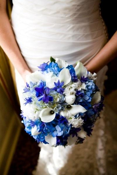 white tulips, blue hydrangea, white mini callas, white stock, blue delphinium, blue triteleia
