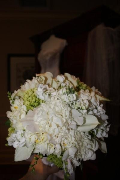 white Peonies, white mini callas, mini green Hydrangea, white Stock, white Freesia