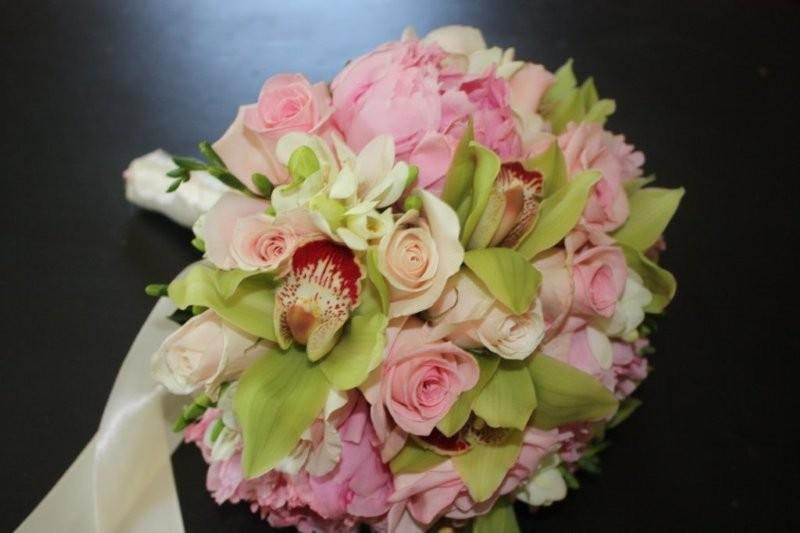Cymbidium Orchids, Sophie Roses, white Freesia, pink Peonies, Candy Bianca pale pink Roses