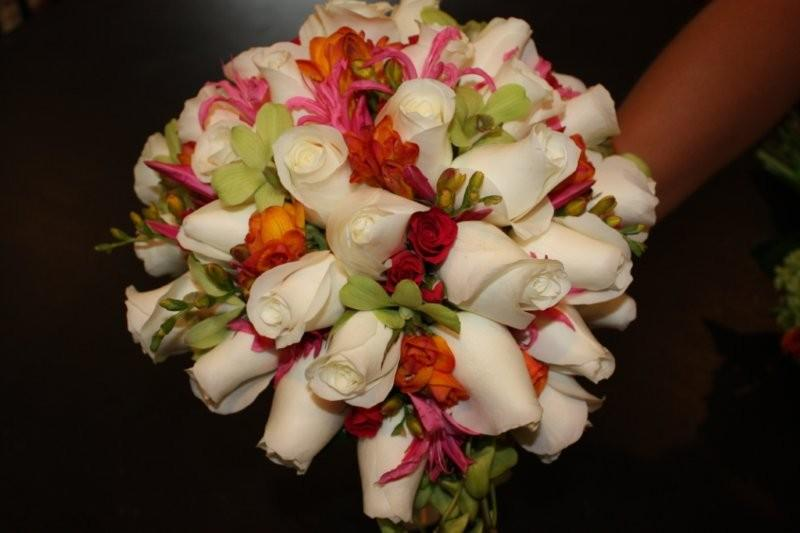 White Roses, Orange Freesia, Pink Nerine Lily, Green Dendrobium Orchids