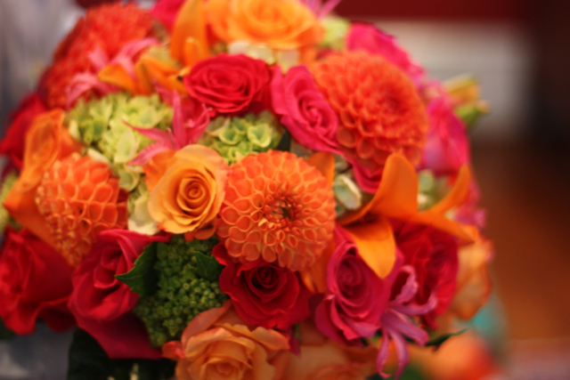 10 06 2009 Orange And Pink Wedding Flowers Ellen S Whitehall