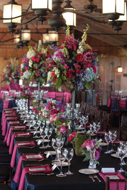 Hot Pink And Blue Wedding Flowers The Marriott Ranch