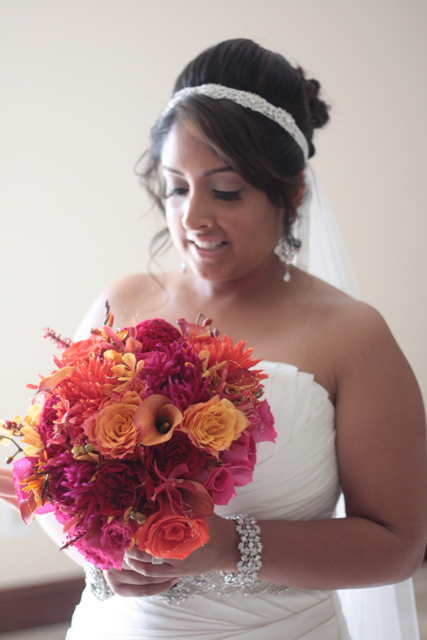 Julie Michael Orange Hot Pink and Red Wedding Flowers