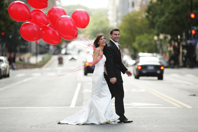 Sunflower Wedding Red Balloons Hotel Monaco DC