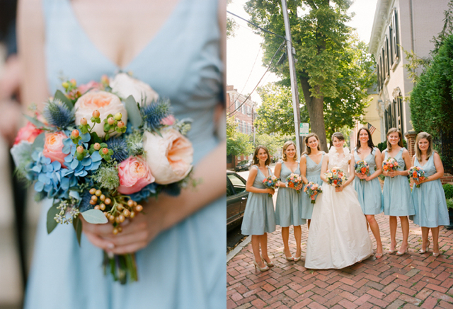 peach juliet cabbage roses, blue hydrangea, white cabbage roses, bridal bouquet