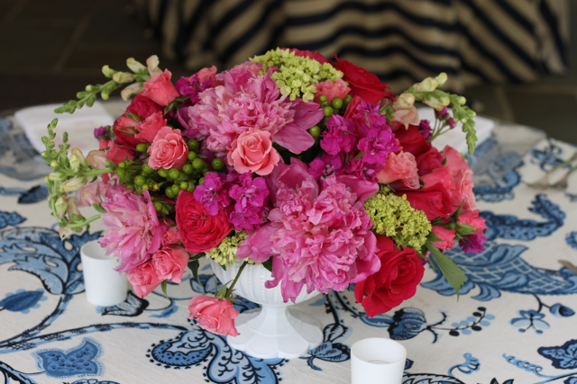 compote centerpiece, pink peony, pink cabbage roses, pink spray roses, green hypericum berry, green hydrangea