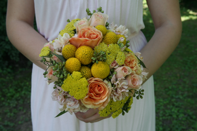 bridesmaid bouquet, yellow billy balls, crespedia, yarrow, peach roses, peach spray roses