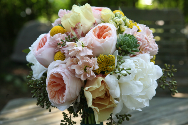 bridal bouquet, bridal bouquet of peach juliet roses, white peony, yellow peony, succulents