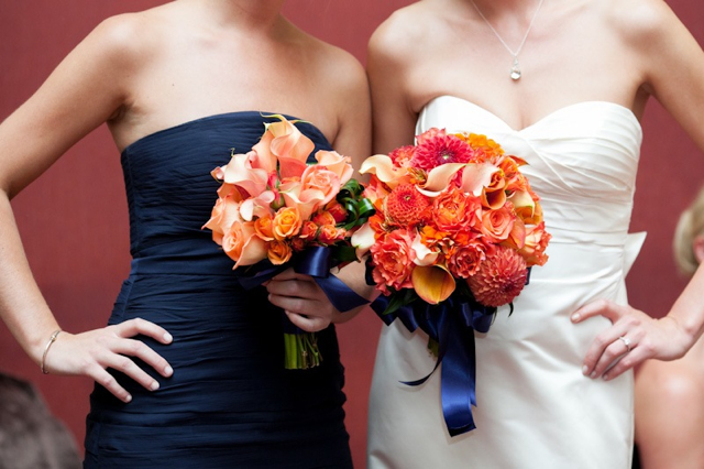 Navy And Coral Wedding Colors: Orange, Peach, Coral, Wedding Flowers, Trump National Golf
