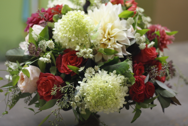 pomegrante toned flowers, cafe au lait dahlias, limelight hydrangea, peach juliet roses, compote bow
