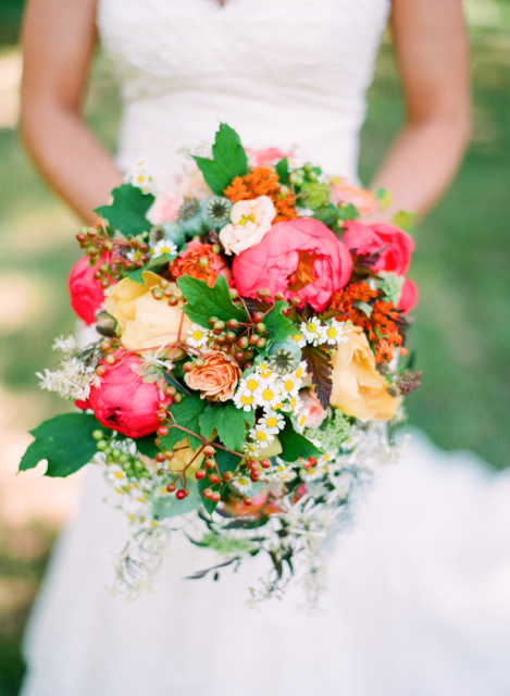  flowers, coral peony, yellow peony, viburnum berry, queen annes lace