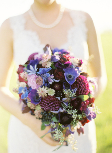 cascading bridal bouquet, blue wedding flowers, purple wedding flowers, loudoun weddings, holly chapple, middleburg weddings