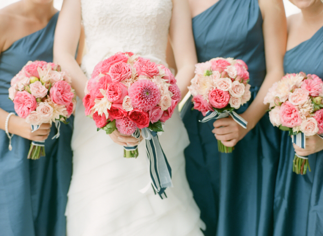 St. Michaels Wedding, pink cabbage roses, nautical wedding, dahlias