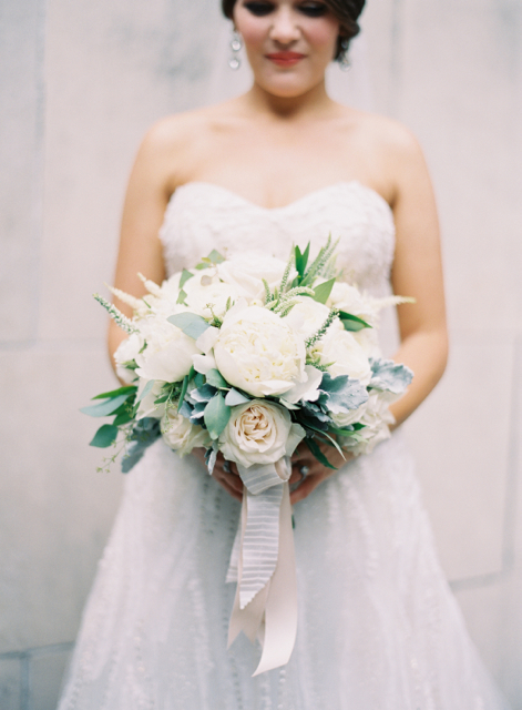 trend setting bridal bouquet by designer Lesley Frascogna of Tulip Curated Florals - Jackson, Mississippi, white peonies, white garden roses, veronica, astilbe, dusty miller and seeded eucalyptus