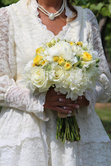 bridal bouquet by designer Jessica Jones of Blooms'n Blossoms - Georgetown, KY, white peonies, garden roses, white scabiosa, craspedia and yellow ranunculus