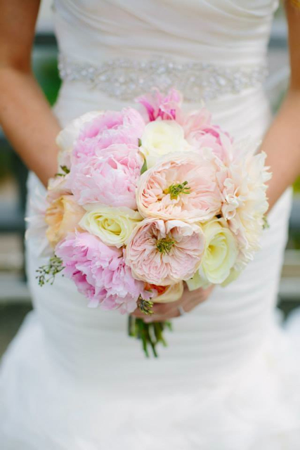 Bridal bouquet by designer Alexandra Jusino of Exquisite Designs - Chicago, Illinois, with blush peonies, garden roses and café au lait dahlias
