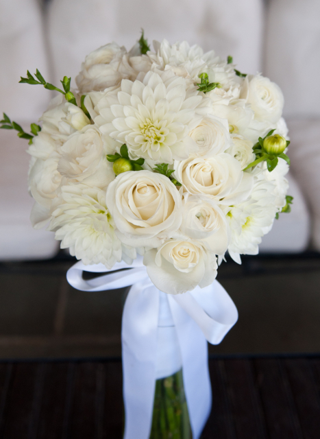 wedding bouquet by Designer Lisa Ruf of Goodness Gracious Florals – Maryland, with white dahlias, roses and freesia