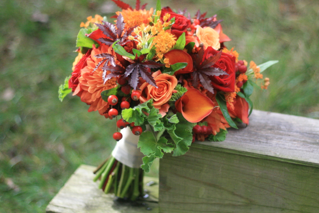 trend setting bridal bouquet, fall colored bridal bouquet, Wedding bouquet by designer Laura Williams of Loda Floral Design – Virginia, with orange mini callas, red and orange roses, asclepias, orange dahlias, purple Japanese maple and scented geranium