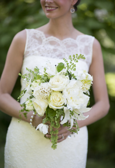Bridal bouquet by designer Janna Avery of Callista Designs - Linville, NC, with white hyacinth, peonies, roses, lilies, hellebores and maidenhair fern