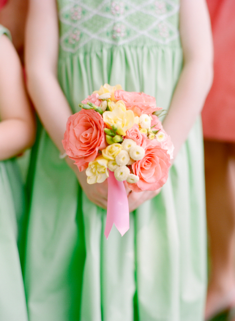 amsterdam roses, yellow stock, coral and yellow wedding