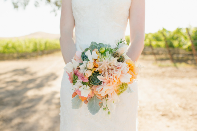 Bridal bouquet by designer Laura Cogan of Passion Flowers Design, Buellton, CA, with café au lait dahlias, blush astilbe, sweet pea, succulents, scabiosa and dusty miller