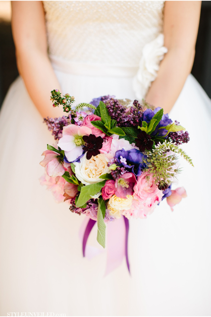 Bridal bouquet by Designer Kim Kalmbach of Bloomers Floral Design - Sacramento, California, with garden roses, blush hellebores, lilacs, blush ranunculus, purple lisianthus, Queen Anne's lace and mint