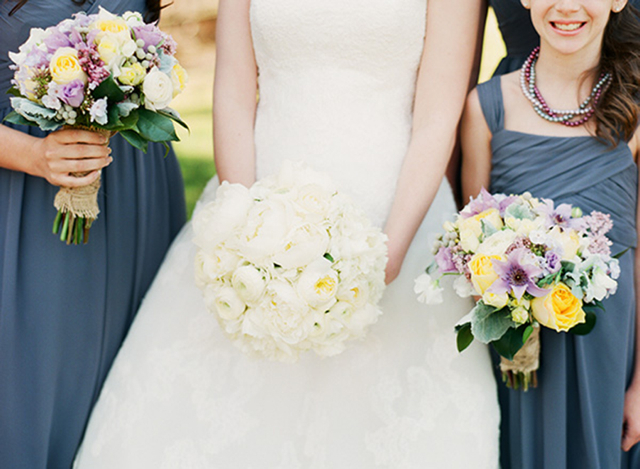 yellow roses, dusty miller, lavender anemone, bridal bouquets