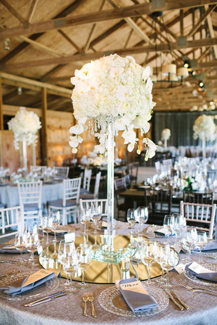 tall white flower arragements, white hydrangea, white Phalaenopsis orchids
