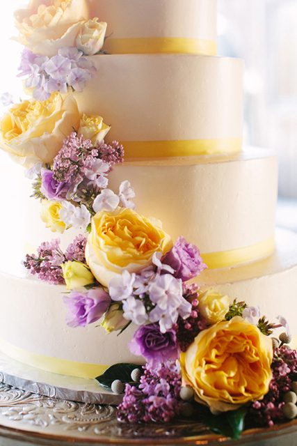 yellow and lavender wedding cake flowers