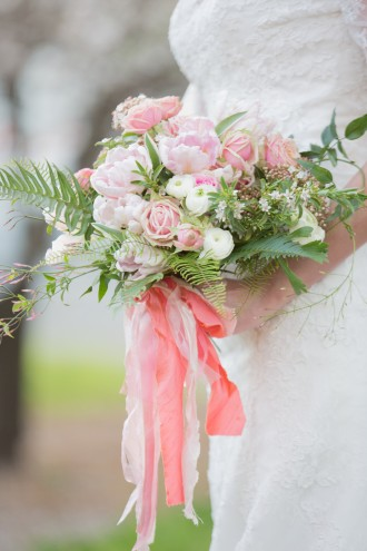 midori ribbon pink and peach bouquet Three Sisters Floral Chapel Designers