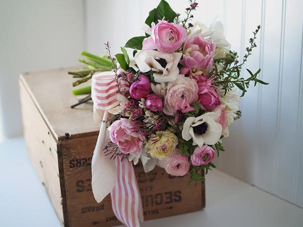 pink and white bouquet with pink stripe ribbon Midori alluring blooms chapel designers