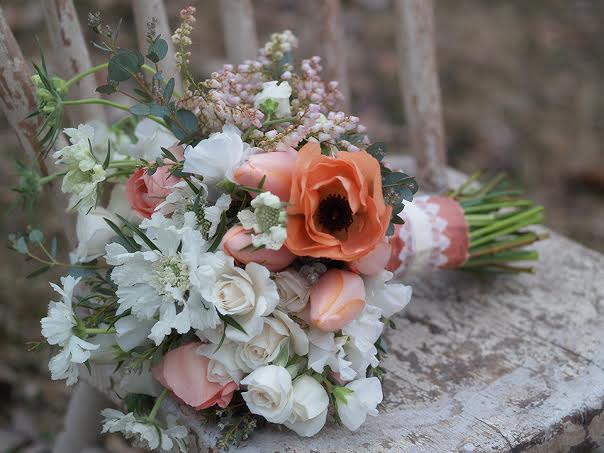 dupioni silk Midori ribbon alluring blooms peach and white bouquet chapel designers