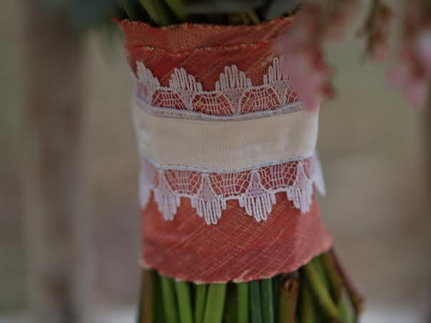 Nectarine dupioni silk ribbon Midori on bouquet handle alluring blooms chapel designers