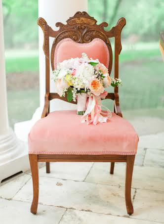 Peach and pink bouquet with Midori ribbon Holly Heider Chapple Flowers Chapel Designer