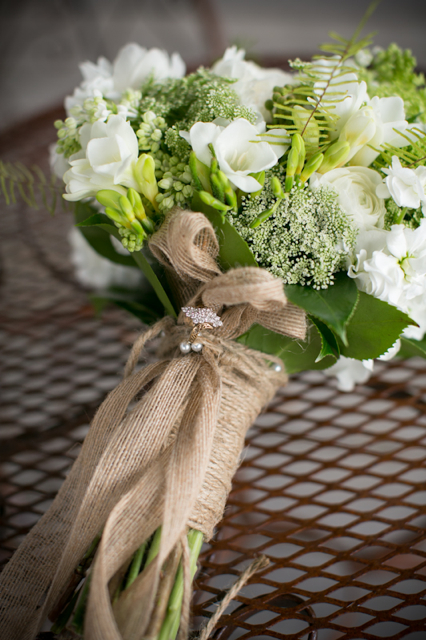 white and green bridal bouquet, burlap ribbon