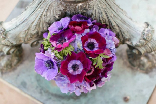 purple anemones bouquet bee's wedding and event designs chapel designers
