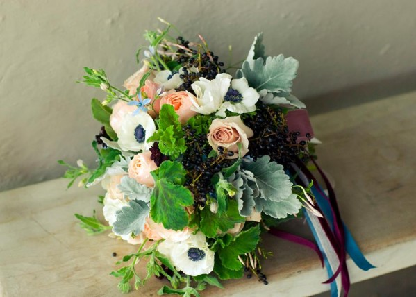 bouquet of anemone roses geranium leaves dusty miller flourish chapel designers