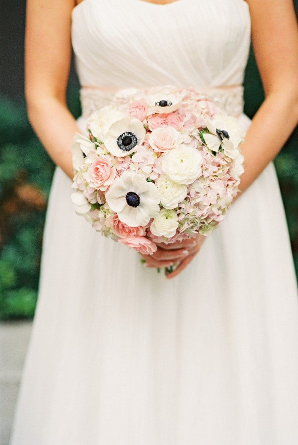 pink and white bouquet anemones liz rusnac floral design chapel designers