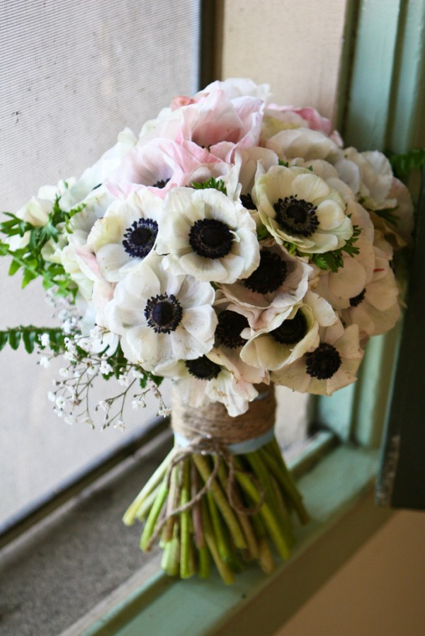 anemones blush and white bouquet blossom alliance chapel designer hand tied