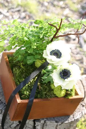 wooden ring bearer box with white anemones passion flower flowers and chapel designers
