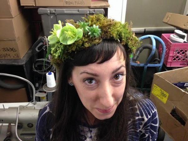 chapel designers conference head wreath of green flowers holly rutt