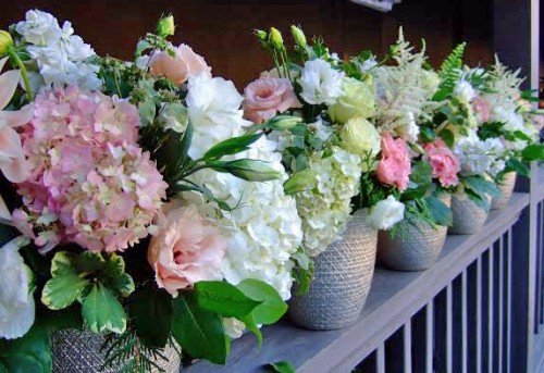 hydrangea lisianthus pink white vasesource calista designs janna avery chapel designers