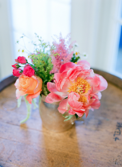 mason jars with coral charm flowers, wedding florist holly chapple