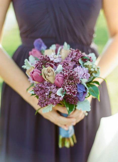 bouquet of lilac, amnesia roses, dusty miller, lavender clematis