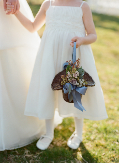 flower girl basket, whitehall weddings, brown flower girl basket