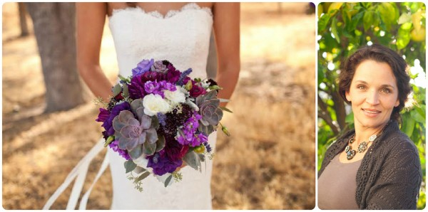 purple succulent bridal bouquet Flowers by Denise Chapel Designer